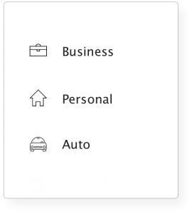 graphic with the words Business, Personal and Auto